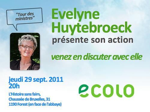 Evelyne Huytebroeck présente son action le 29 sept à 20h